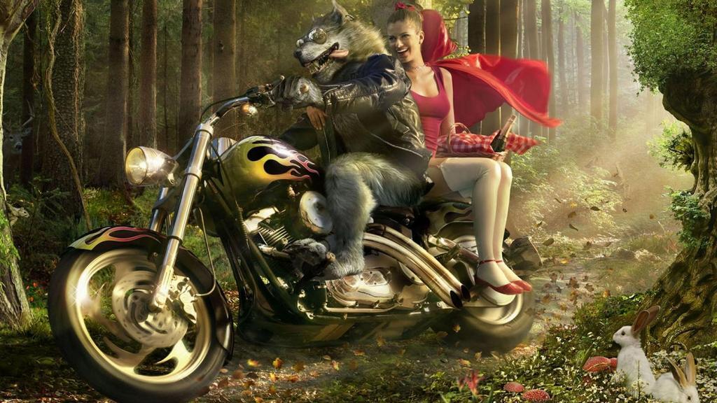 Фото: Волк и Красная шапочка на мотоцикле.