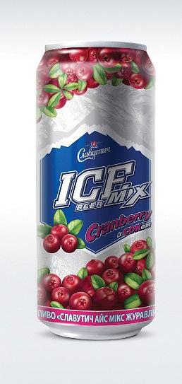Фото: новый пивной микс от Славутич - ICE Mix Клюква