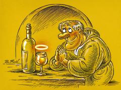 Фото: Монах и бокал вина.
