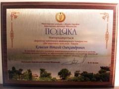 Фото: Диплом директора ПАО «Дом марочных коньяков «Таврия» Виталия Кошелева от Херсонской таможни.