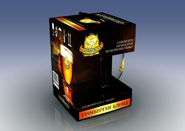 Фото: Бельгийское пиво с бокалом — в новой подарочной упаковке от «Grimbergen».