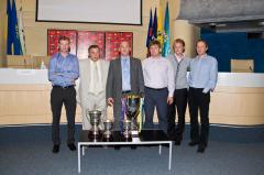 Фото: пресс-конференция, посвященная победе украинской команды на международном чемпионате по футболу среди аматоров
