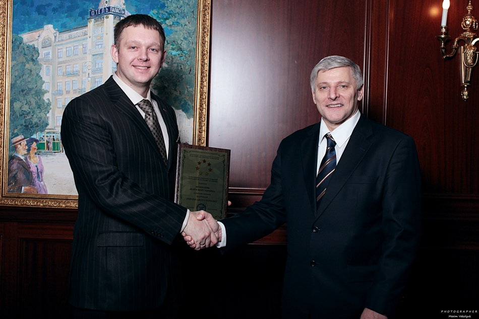 Фото: Вадим Клец и Евгений Самарцев на вручении «Hospitality Excellence Award».